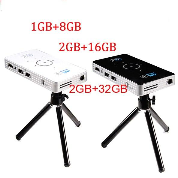 Projecteur de poche 4 k dlp mini C6 projecteur 50 lumen Android 6.0 quad core dual band wifi vs h96-p Bluetooth pico projecteur