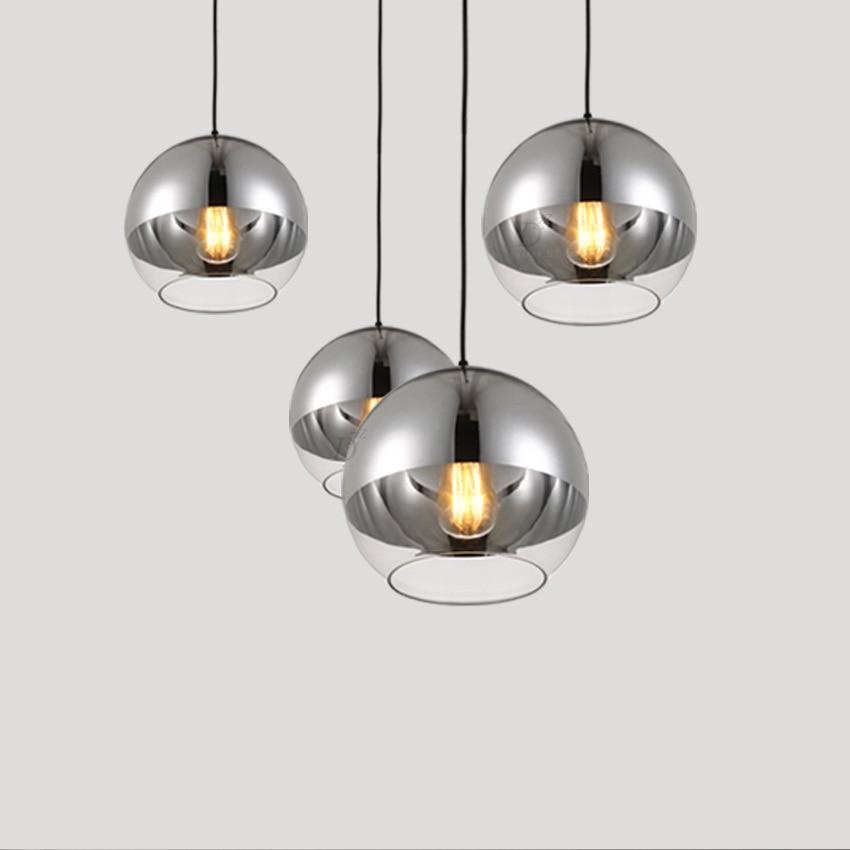все цены на Attractive Copper/Sliver Glass Shade Silver Inside Mirror Pendant Light E27 LED Pendant Lamp Glass Ball Living Room Lamps(DH-50) онлайн