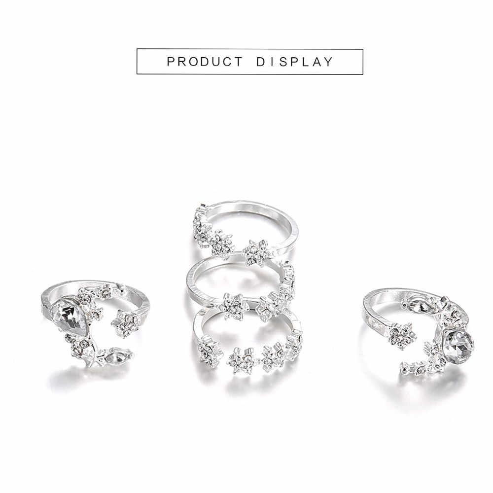 5 Rings Set New Bohemian Vintage Women Alloy Star Moon Shape Finger Rings Punk For Women Jewelry Couples Rings Bijouterie