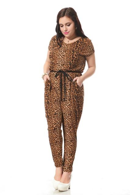 Más el tamaño de impresión de leopardo decoración Sexy con cuello en v mono del mono de las mujeres con Fajas trajes de algodón Sueltos 3xl-7xl 004