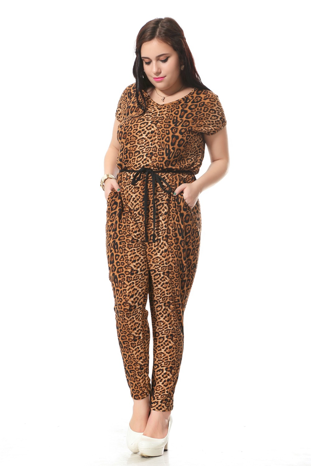 Plus Size Leopard Print Jumpsuits For Women With Sashes Sexy V Neck Jumpsuit Summer Loose Cotton ...