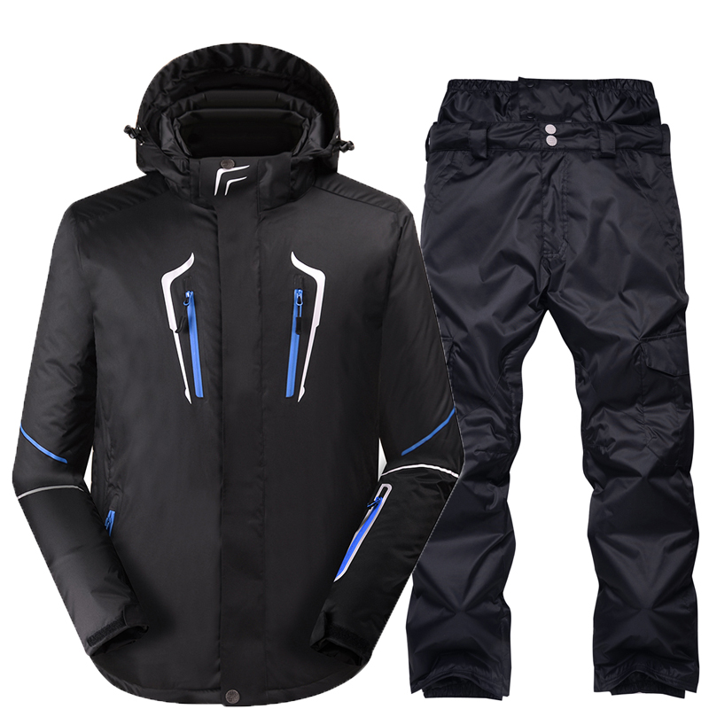 Snowboarding sets Men jackets + pants Very Warm Windproof Waterproof pure color Snow Skiing suit outdoor Winter Clothes new men snow clothes skiing suit sets specialty snowboarding sets waterproof windproof winter sports snow jackets and pants