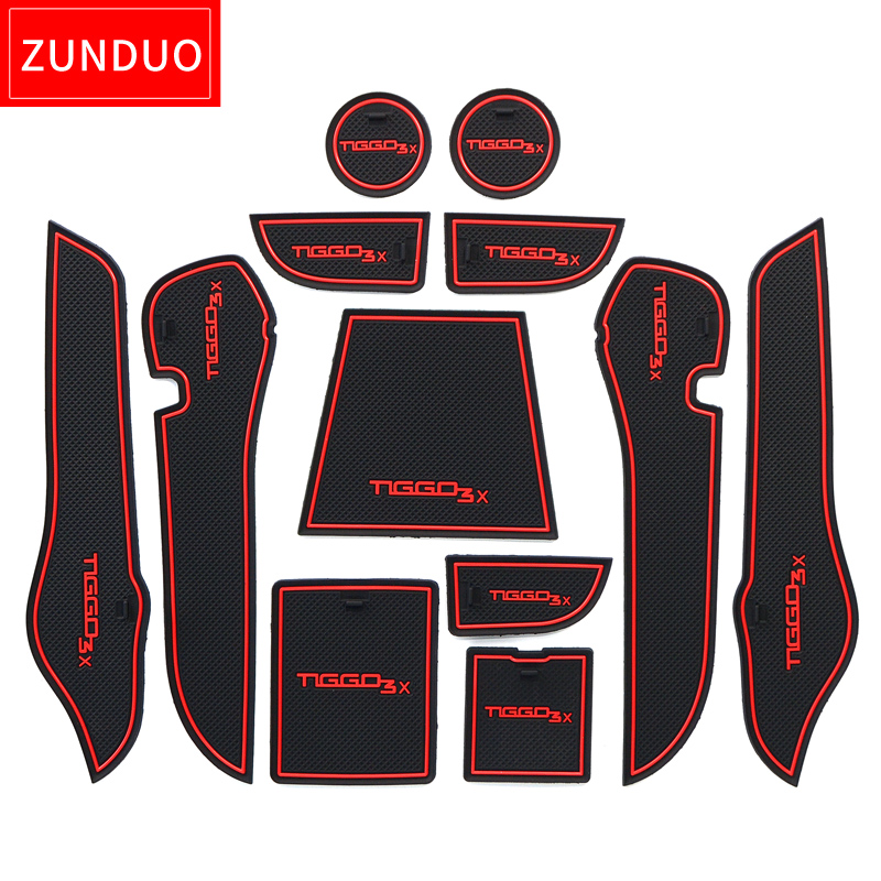 ZUNDUO Gate Slot Pad  For Chery Tiggo 2 2016 2017 2018 2019 Tiggo2 Tiggo 3x MVM X22 DR3  Interior Door Pad/Cup Non-slip Mats
