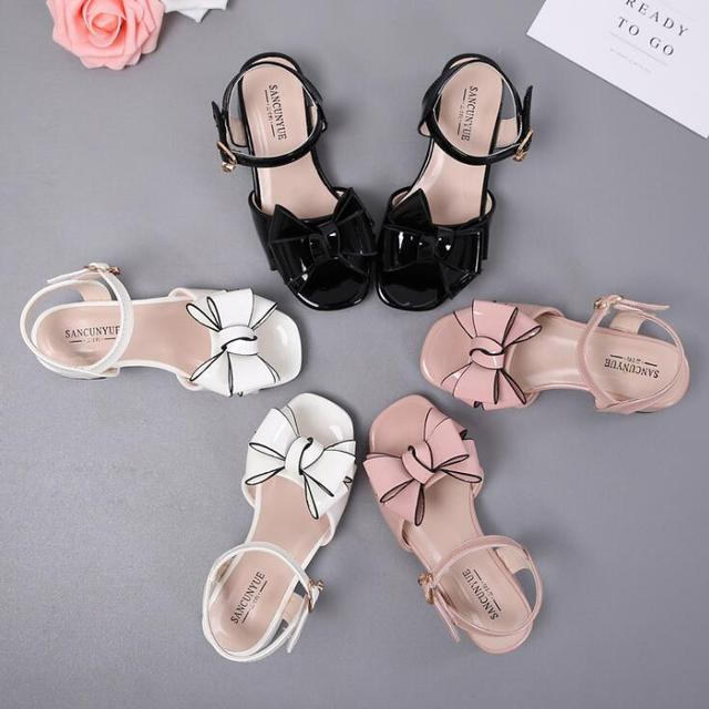 35df54660d US $15.8  Size 26 37 Girls Sandals 2019 Summer New Korean Child Fashion Bow  Princess Shoes Sweet Patent leather children's High heels -in Sandals from  ...