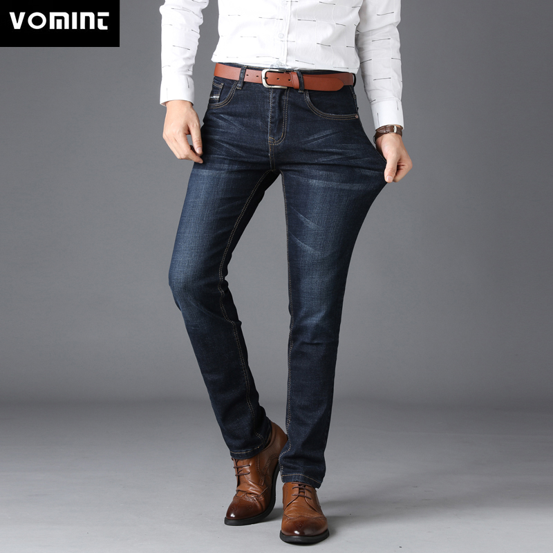 VOMINT Men's Jenas Business Classic Leisure Basic styles men   Jeans   Straight pants High Quality Hot Sale Plus Size 40 (No Belt)