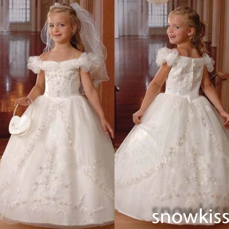 Off the Shoulder Beaded Ball Gown Holy The First Communion Dresses Toddler Kid Gown White/Ivory Flower Girl Dress For Wedding white ivory lace appliques crystals flower girl dress off the shoulder a line princess holy the first communion gown with train