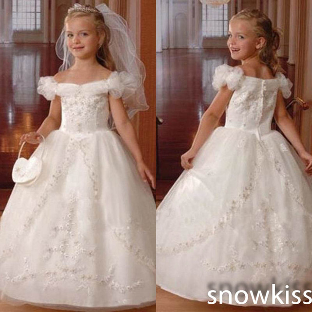 bce502dee Off the Shoulder Beaded Ball Gown Holy The First Communion Dresses Toddler  Kid Gown White/Ivory Flower Girl Dress For Wedding