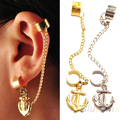 Fashion Rock Punk Anchor Tassel Earring Clip On Stud Hanging Earring Fashion Ear Cuff Wholesale Sale A384