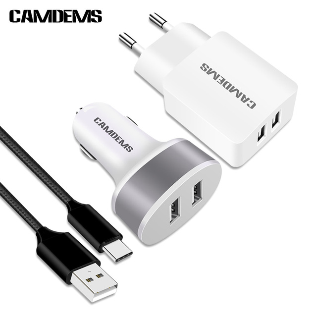 Camdems 2a Eu Wall Charger Adapter Dual Car 1m Nylon Braided Usb Type C Cable For Huawei P9 Samsung S8 Plus