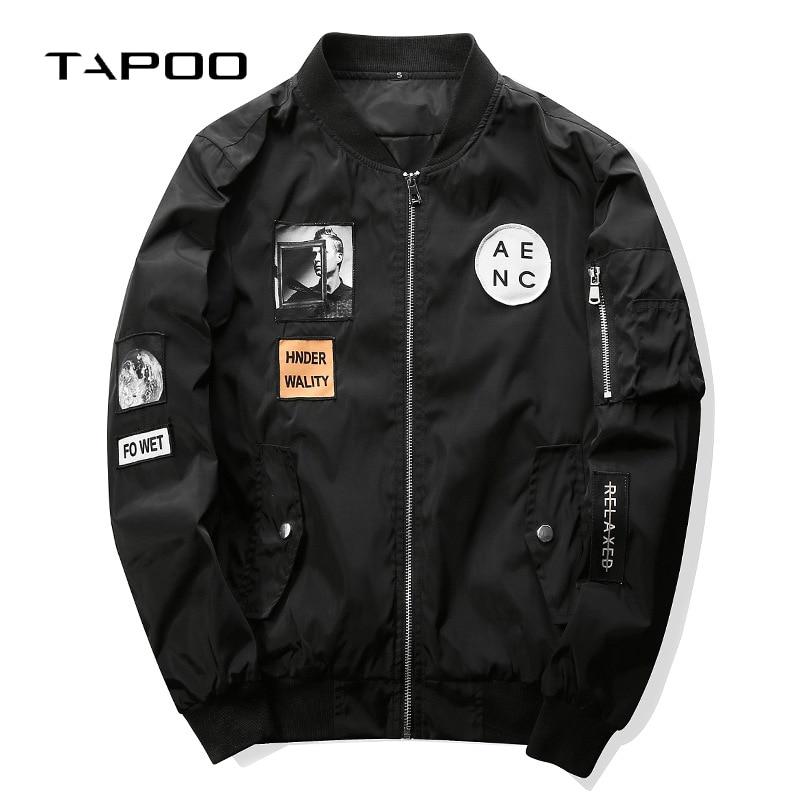 2019 Fashion Men Bomber Jacket Hip Hop Patch Designs Slim Fit Pilot Bomber Jacket Coat Men Patch Jackets Male Plus Size 4XL