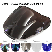 Black Motorcycle Motorbike Windshield Double Bubble Windscreen Wind Deflectors Air Flow For Honda CBR600 F2 CBR 600 1991-1994