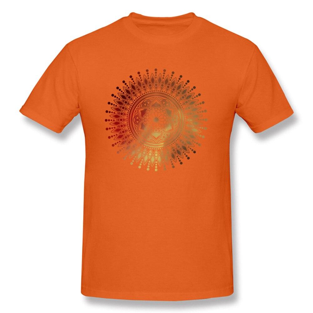 Tees red gold mandala Labor Day Latest Design Short Sleeve Cotton Round Collar Men T-shirts Design T Shirts Free Shipping red gold mandala orange