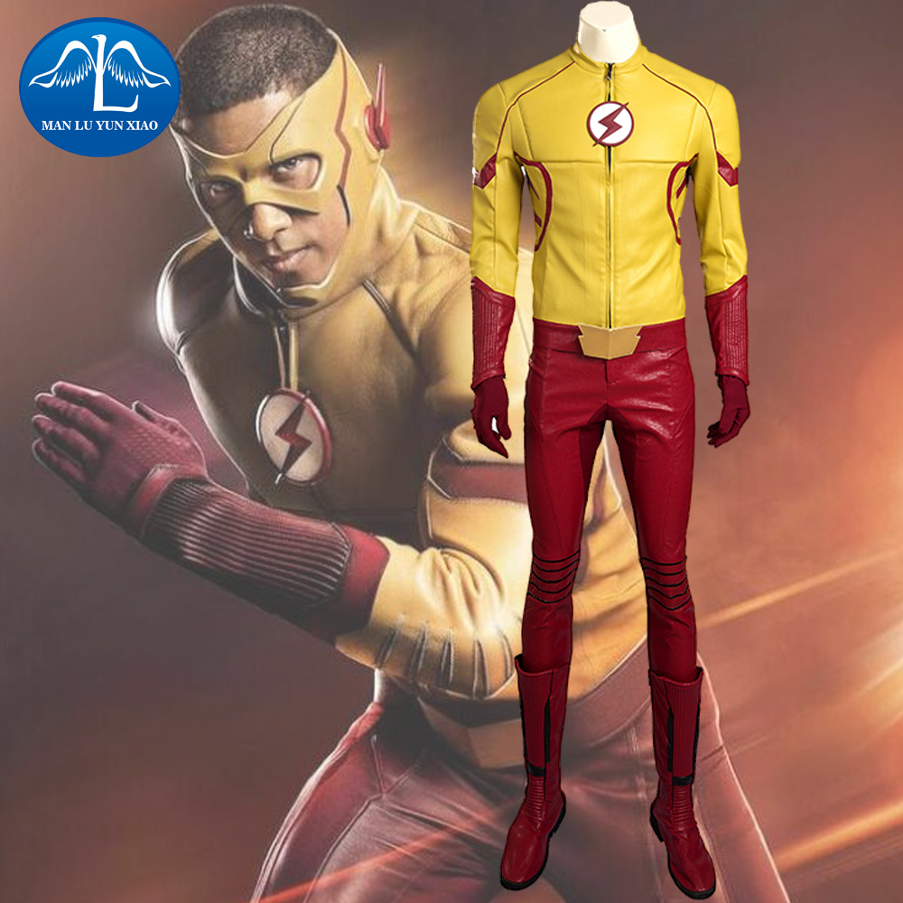 MANLUYUNXIAO Kid Flash Costume With Mask Halloween Kid Flash Cosplay Costume For Men Full Set With Boots Custom Made