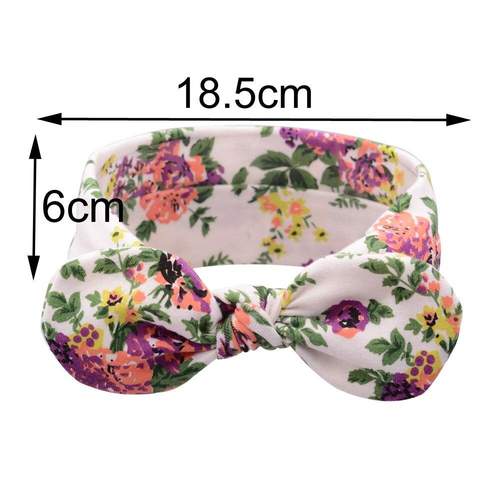1 PC Floral Headband Children Girls Bow Knot Headbands Elastic Hairband Soft Turban Headwrap Rabbit Ears Hair Accessories