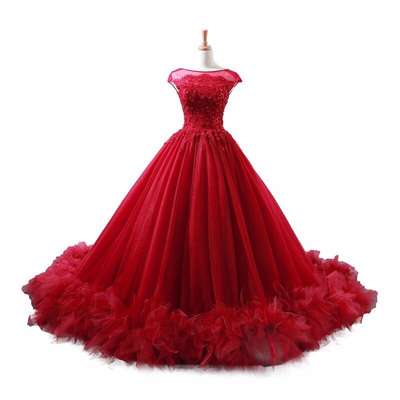 Robe de bal bordeaux mode robe de bal rouge 2018 saoudien Arbaic Design moderne pure dentelle Top Corset élégant robes de bal - 5