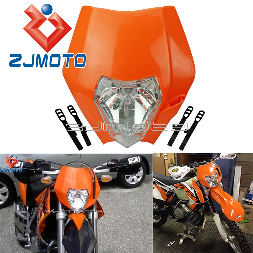 <font><b>Universal</b></font> Motorcycle <font><b>Headlight</b></font> Fairing For KTM MX SXF SX XCW XC EXC XCF 125 150 250 300 350 450 Orange <font><b>Dirt</b></font> <font><b>Bike</b></font> Headlamp Mask image