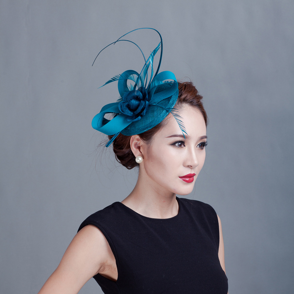 New Fashion Flower Feather Sinamay Hats Women Hair Accessories Elegant Fascinators Hair Accesorries For Wedding Party Church 7 C free shipping high quality 2015 mini disc flower sinamay fascinator with feather for race