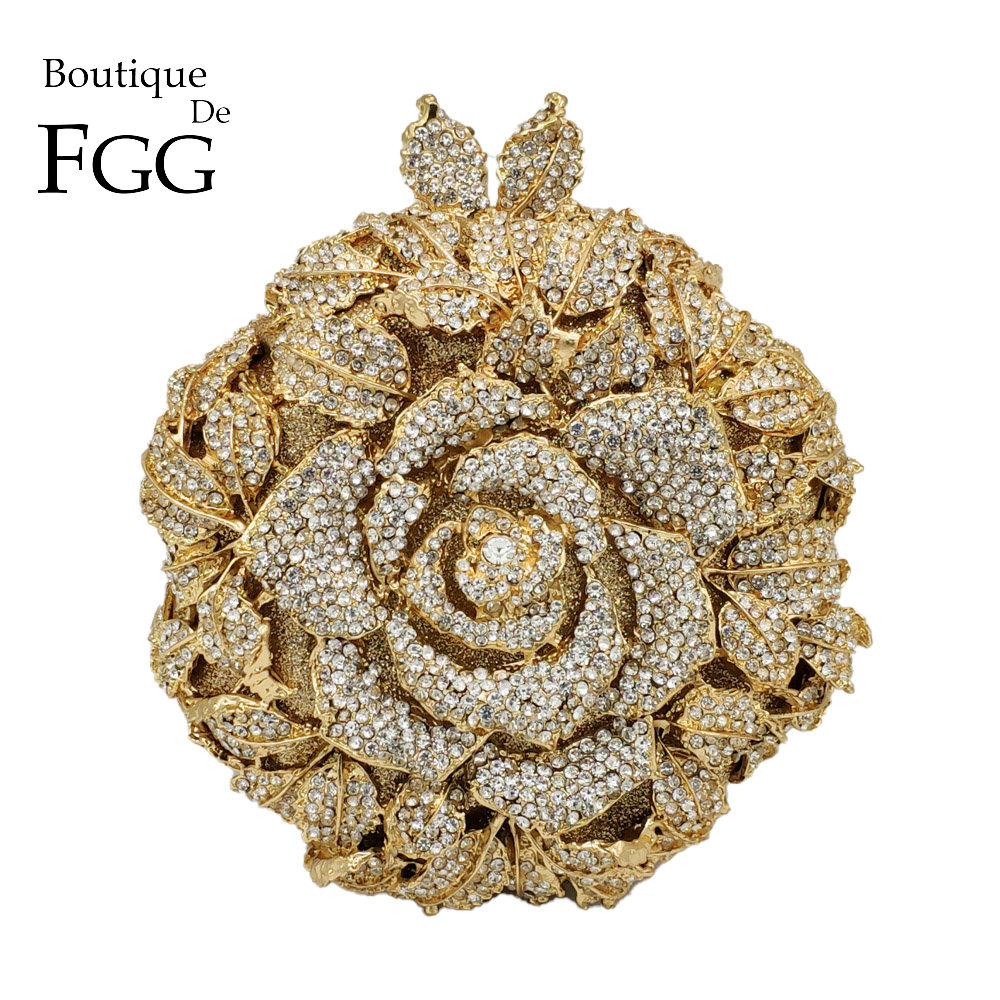 Boutique De FGG Elegant Rose Flower Women Crystal Evening Clutch Bags Bridal Floral Handbag and Purse