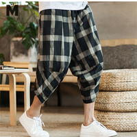 Marstaci Mens Cotton Linen Beach Pants Male Summer Casual Ankle Length Pants Man 2018 Ethnic Style Plaid Loose Trousers