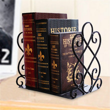Creative Retro Bookshelf Desktop Storage Rack Bookend Iron Magazine File Book Stand Student Home Table Organizer Office Supplies