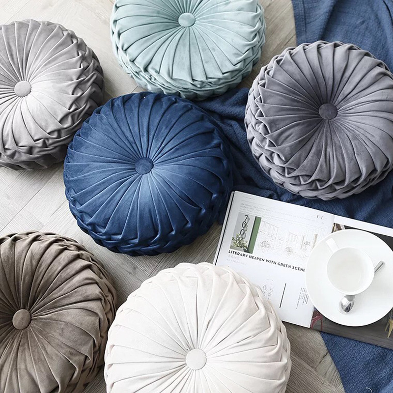 Plush cushion Nordic round solid color cushion home decoration Korea handmade crease thickening bedroom chair tatami pillow