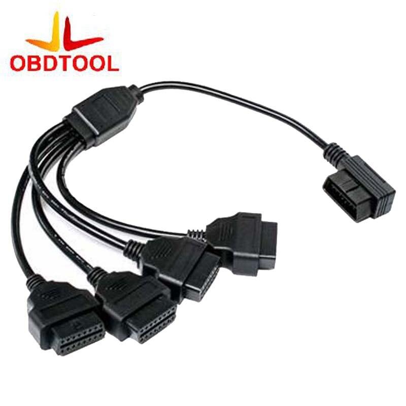 Prix pour OBD2 16Pin Connecteur de diagnostic OBD plug Mâle à Femelle 1 en 4 Angle Droit Extension Câble De Voiture De Diagnostic Scanner Adaptateur