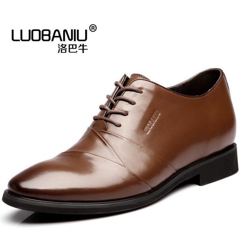 Men's Shoes Increase height 6cm small yards Male shoes black,Brown dermis lace-up Flats Business casual shoes obuv