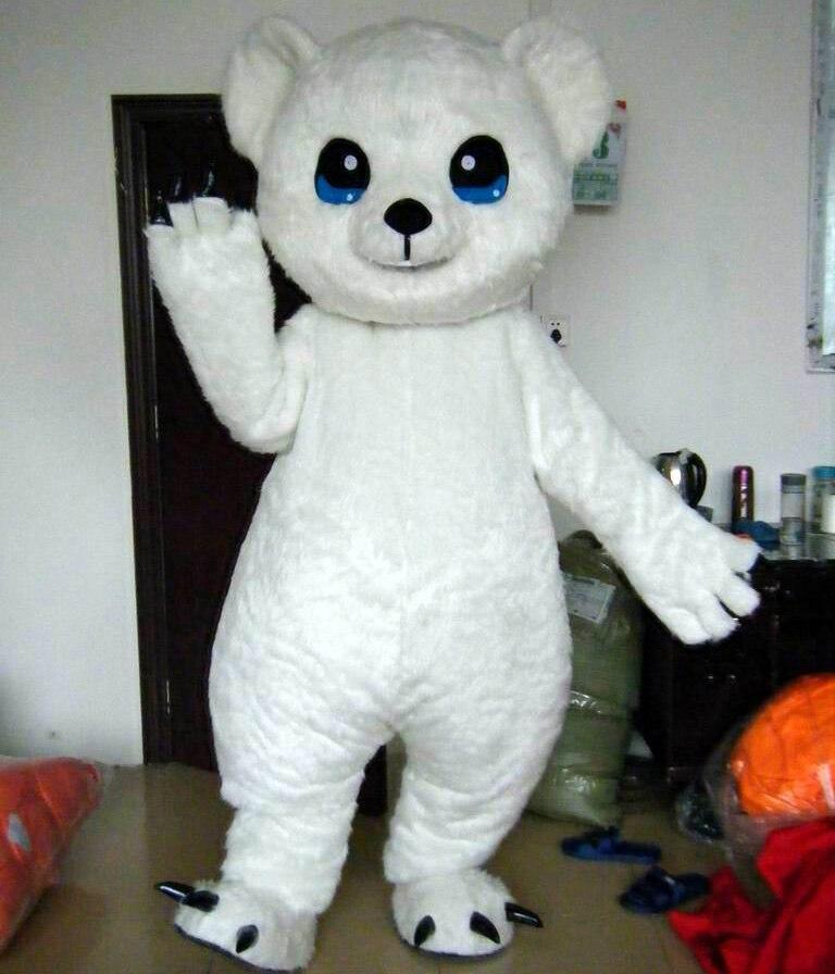 ΞGrandes ojos oso polar de blanco traje de la mascota para adultos ...