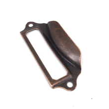 Reddish Bronze 69*29mm Iron label frame cup pull Post Office Library File Drawer Tag Card Label Holder handle pulls