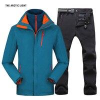 Для мужчин кемпинг Пеший Туризм Куртка Брюки для девочек 1 компл. открытый Водонепроницаемый ветрозащитный с плотным ворсом восхождение Ку