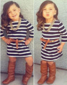 vestido Autumn Casual Long sleeve black white striped party princess dresses belt children clothing kid girls clothes DY109A