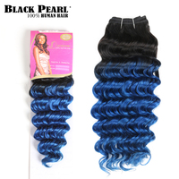 Black Pearl Pre Colored Ombre Blue Human Hair Bundles 100g Indian Deep Wave Hair Weave 1 Bundle T1bBlue Hair Extensions