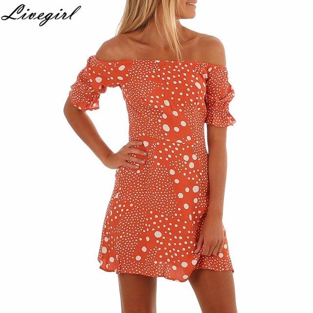 81ba3f2f866b Off Shoulder Ruffle Oolka Dot Women Dress Summer Beach Sexy Dress Elegant Short  Puff Sleeve Mini