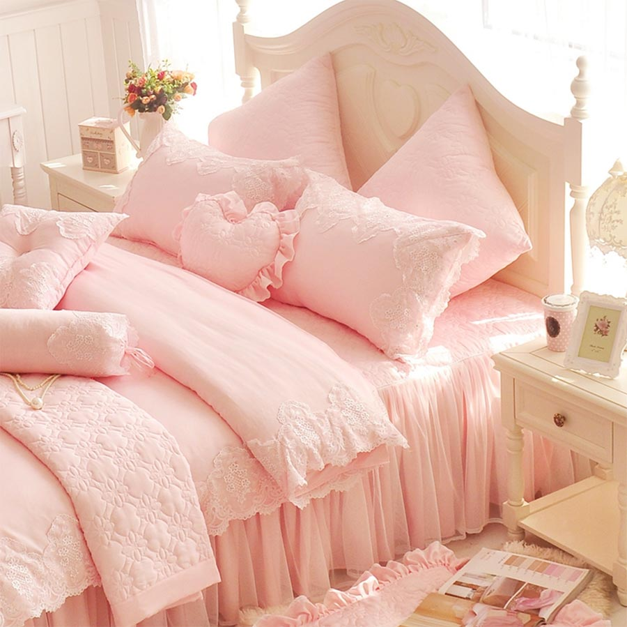 Princess lace singel double bedding set girl,twin full queen king romantic luxury home textile bed skirt pillowcase quilt cover