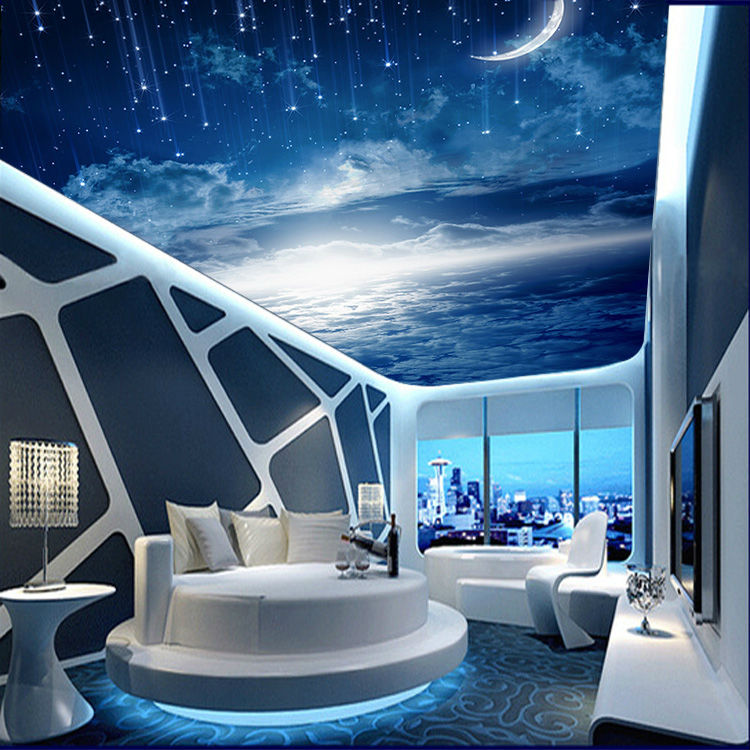 Superior Galaxy Wallpaper 3D View Photo Wallpaper Bedroom Ceiling Room Decor Starry  Night Murals Club Living Room Charming Moon Meteor In Wallpapers From Home  ...