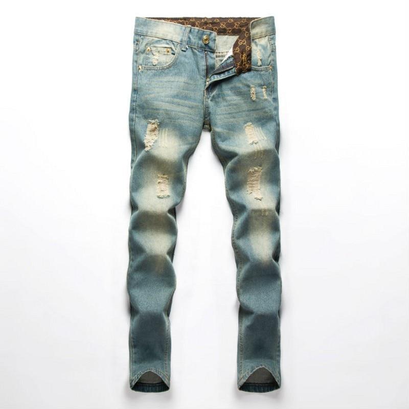 Famous Brand Men Jeans Fashion fog Designer denim Blue Printed Pants For Male Trousers,button fly jeans men  CHOLYL men s cowboy jeans fashion blue jeans pant men plus sizes regular slim fit denim jean pants male high quality brand jeans