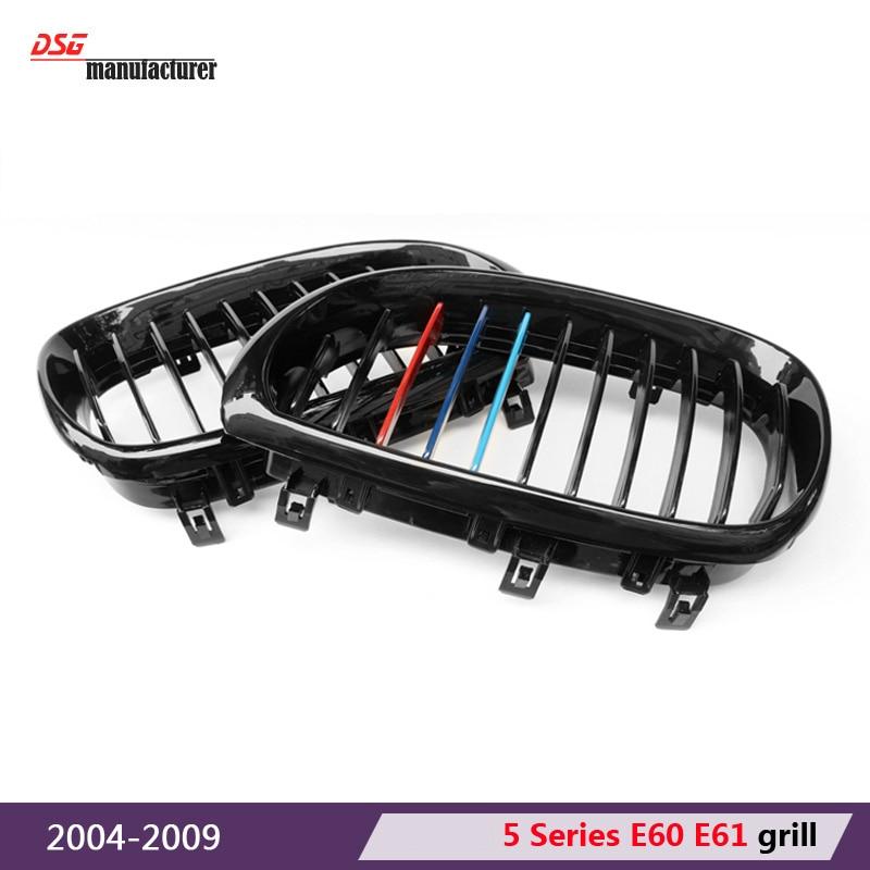 E60 m tri-colour abs front kidney grille grill for bmw 5 series e60 2004 - 2009 sedan e61 hatchback 1-slat / 2-slat 535i 545i e60 front grille for bmw 5 series e39 e60 abs m performance style front bumper grille