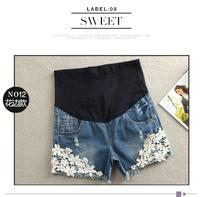 2019 Summer New Arrival Maternity Summer Short Jeans Most Hot Sale Lace Decorated Pop Hot Pant Denim Jeans For Pregnant Women