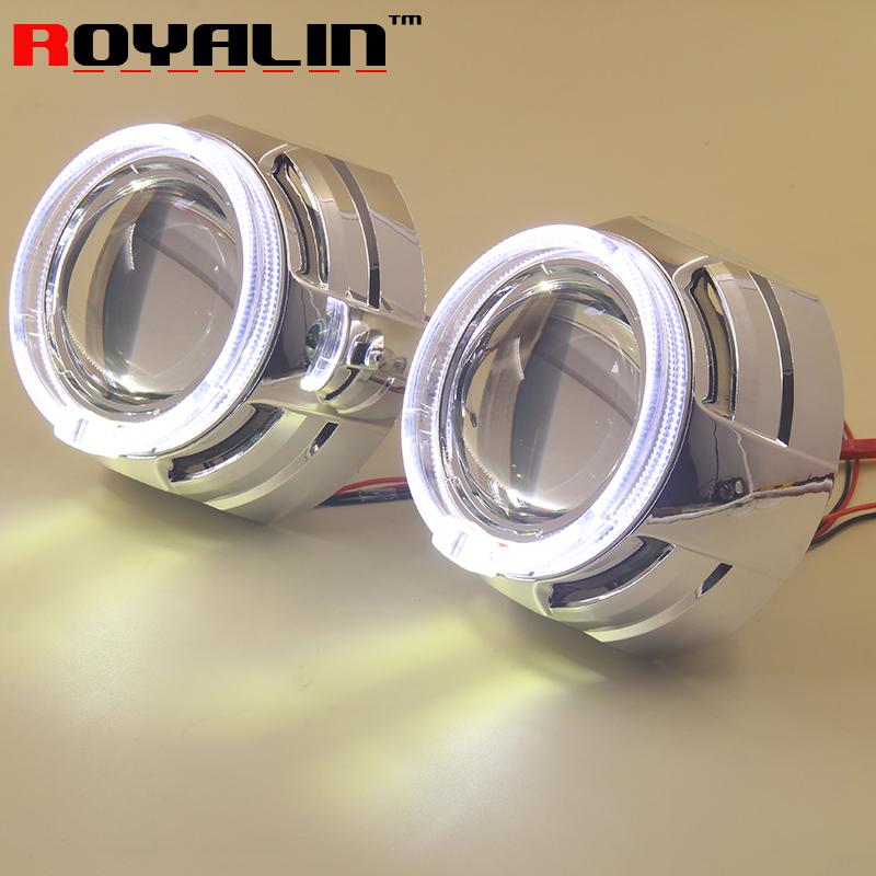 ROYALIN Car Bi Xenon Projector H1 Headligts Lens w/ LED Angel Eyes Halo Ring 95mm DRL for Auto Headlights H1 lamp H4 H7 Cars