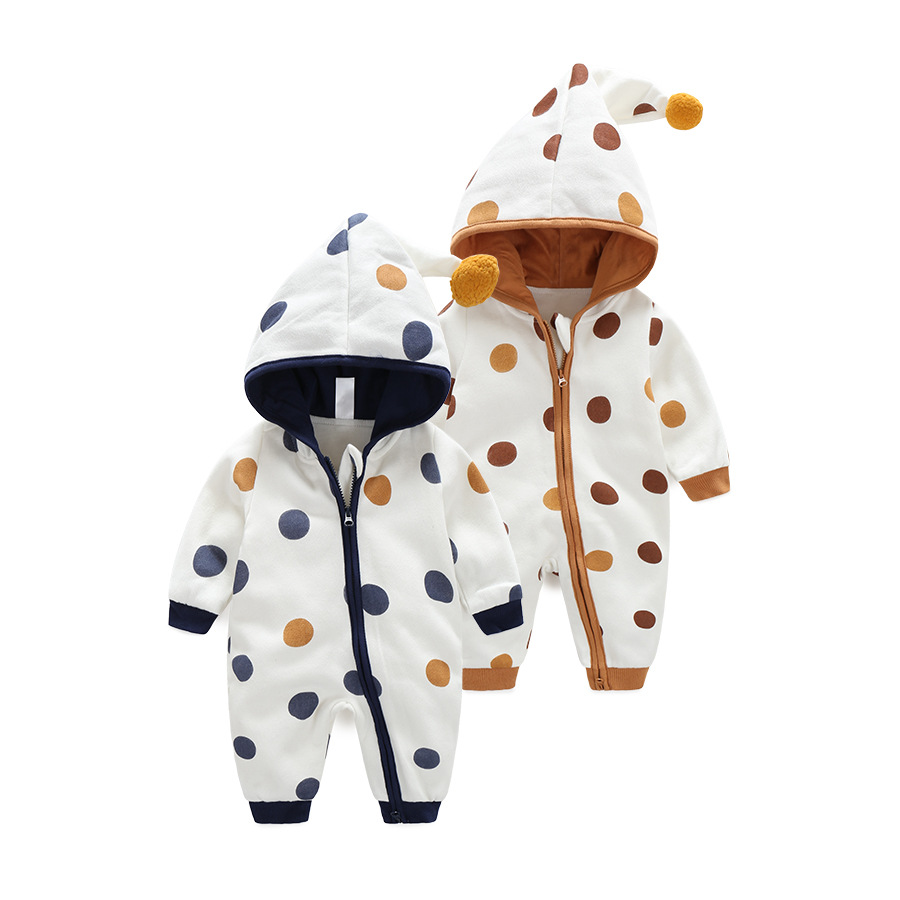 Autumn Winter Baby Clothing Cotton Dot Hooded Newborn Baby Romper Warm Infant Boy Costumes Toddler Girl Jumpsuit