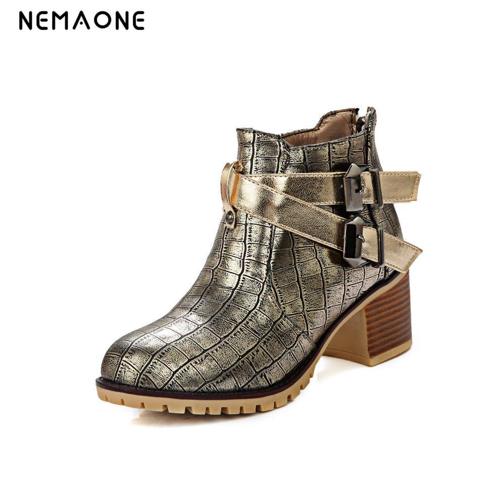 все цены на NEMAO Women Boots Ankle Boots Pointed Toe Motorcycle Boots Female Low Heels Buckle Black gold Shoes Plus Size 34-4 free shipping онлайн