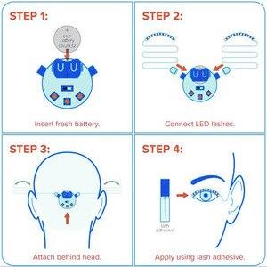 Image 5 - האופנה יוניסקס LED אור מזויף False ריס זוהר הניצוץ ריס עבור המפלגה בר איפור עיניים לאש ריסים מלאכותיים עפעף 20 #626