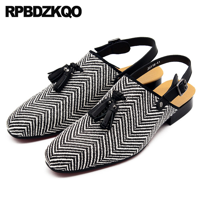 Italian Luxury Sandals Tassel Large Size Striped Designer Shoes Men High Quality Summer Closed Toe Breathable Famous Brand 45 цена 2017
