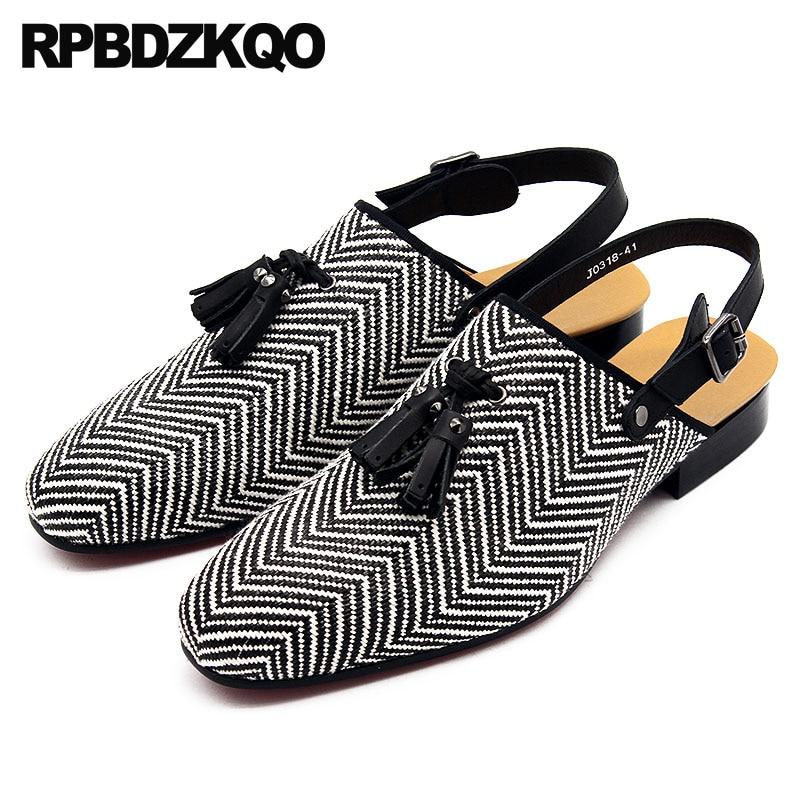 Italian Luxury Sandals Tassel Large Size Striped Designer Shoes Men High Quality Summer Closed Toe Breathable Famous Brand 45 недорго, оригинальная цена