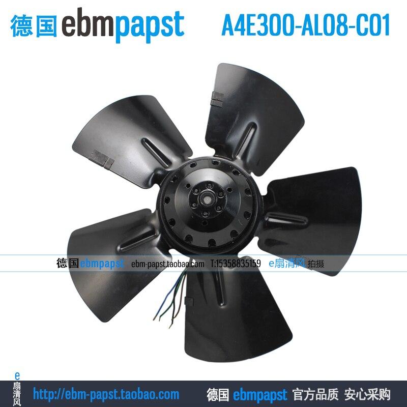 Original new ebm papst A4E300-AL08-C01 AC 230V 0.37A 85W 40W 300x300mm Outer rotor fan new original ebm papst iq3608 01040a02 iq3608 01040 a02 ac 220v 240v 0 07a 7w 4w 172x172mm motor fan
