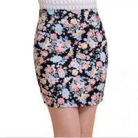 2016 Moda 5 cores verão Menina flor cheia de Impressão Curta saias Elásticas senhoras Falda Saia lápis saias para as mulheres faldas jupe