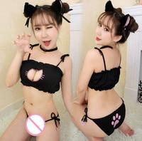 Vendita calda cosplay sexy lingerie babydoll plus size sexy signora del gatto pizzo nero pigiami imposta luru tre punti grandi grandi dimensioni donne