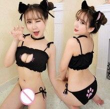 hot sale sexy cosplay lingerie babydoll plus size sexy cat lady black lace pajamas sets luru three points large big size women