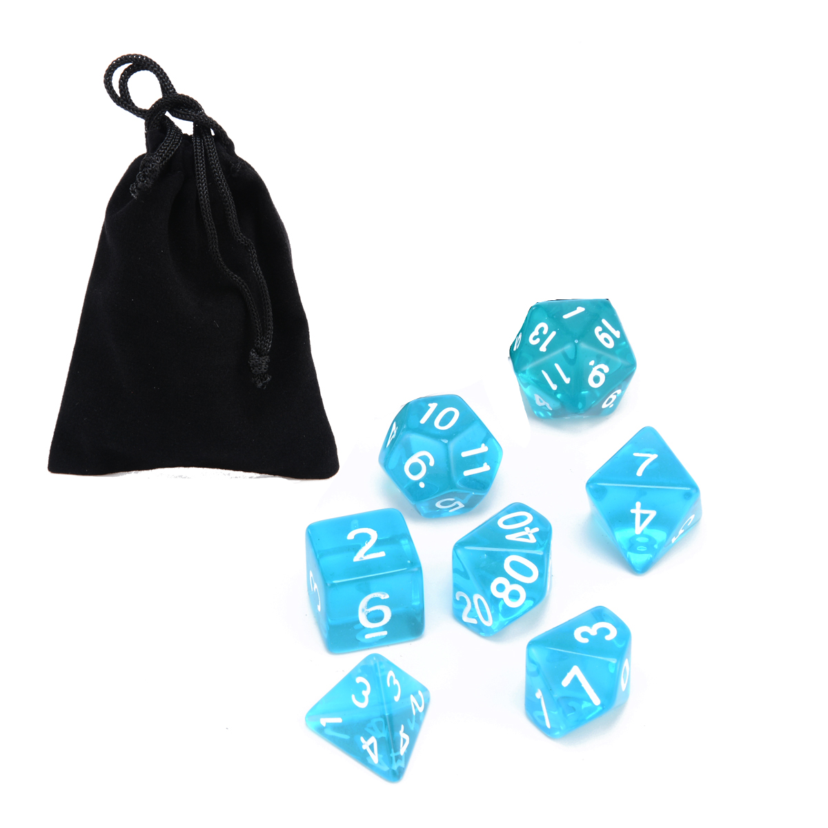 7pc Translucent Polyhedral Dices Blue Set For RPG Dungeons and Dragons With Dice Bag Family School Party Bar Outdoor Table Games