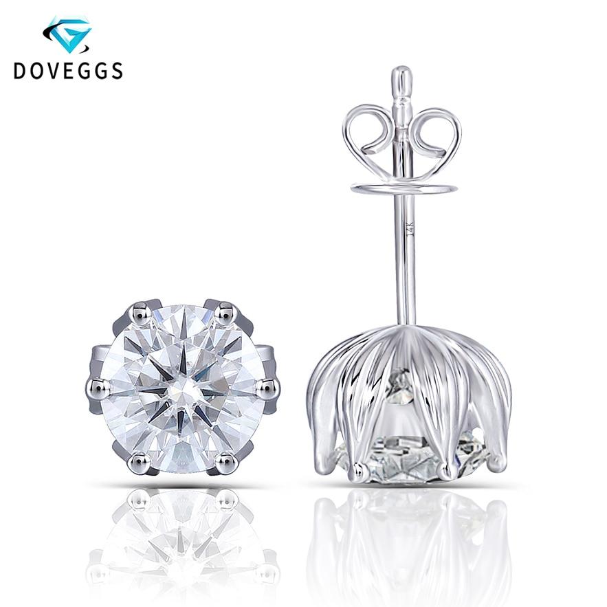 DovEggs Flower Shaped Platinum Pltated Silver 2CTW 6 5MM H Color Moissanite Stud Earrings for Women